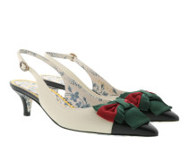 Sling-Back Pumps Web Bow Bianco/Nero Pumps