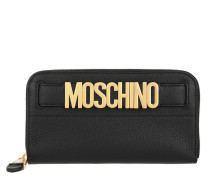 Logo Metal Zip Wallet Black Portemonnaie