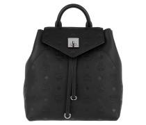 Rucksack Essential Monogrammed Leather Backpack Small Black schwarz