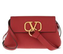 Umhängetasche V Ring Clutch Leather Red