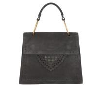 Satchel Bag Lace Suede Handle Crossbody Bag Fume grau
