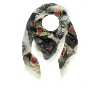 Tiger Face Print Wool Silk Scarf Ivory Accessoire