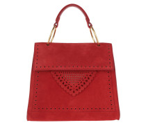 Satchel Bag Lace Suede Handle Crossbody Bag Coquelicot rot