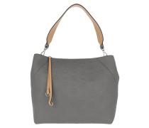 Hobo Bag Klara Monogrammed Leather Hobo Medium Charcoal grau