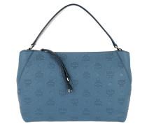 Klara Monogrammed Leather Shoulder Medium Luft Blue Tote