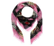 Tiger Face Print Wool Silk Scarf Pink Schal