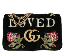 GG Marmont Embroidered Velvet Bag Nero Multi Tasche