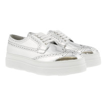 Laced Derby Shoes Leather Silver Schuhe
