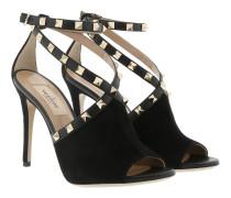 Rockstud Suede Sandals Black Sandalen