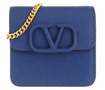 Umhängetasche V Logo Sling Chain Wallet Leather Blue