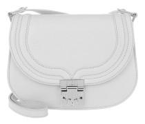 Trisha Monogrammed Leather Small Shoulder Bag Dove Tasche