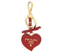 Keychain Heart Shaped Saffiano Leather Fiery Red