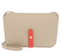 Strap Clutch Grained Shiny Calfskin Light Taupe/Red Clutch