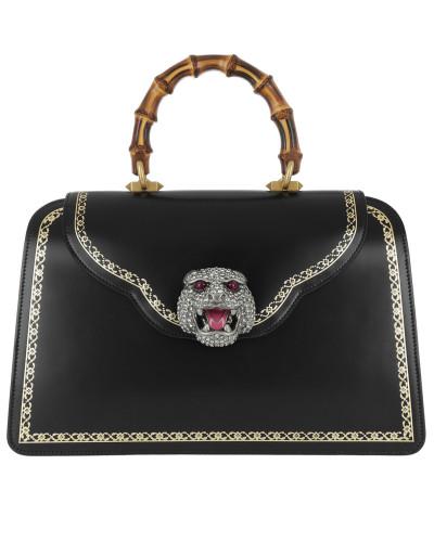 Handle Bag Frame Print Leather Black/Gold Satchel Bag