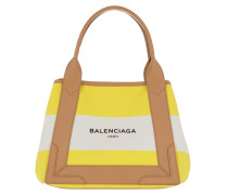 Navy Striped Canvas Cabas S Yellow/White Tote gelb