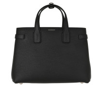 The Medium Banner Vintage Check Leather Black Tote