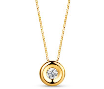 Halskette 0.05ct Diamond Solitaire Necklace 18KT Yellow Gold
