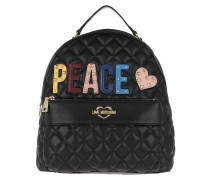 Quilted Peace Backpack Black Rucksack