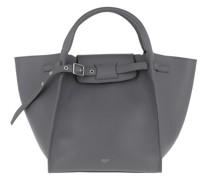 Tote Small Big Bag With Long Strap Leather Medium Grey grau