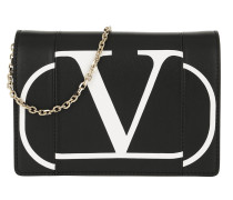 Umhängetasche V Logo Print Chain Clutch Leather Black schwarz