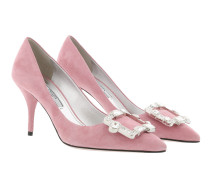 Crystal Buckle Pumps Calf Leather Loto Pumps