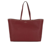 Rockstud Studded Shopping Bag Leather Burgundy Shopper