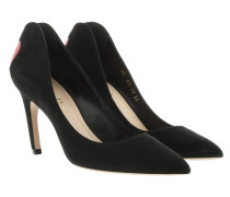 Heart Pumps Leather Black Pumps