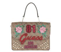 In Love Top Handle Flap Brown Satchel Bag