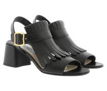 Fringed Suede Sandals Nero Sandalen