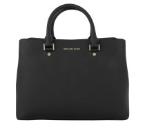 Savannah LG Leather Satchel Black Satchel Bag