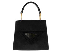 Umhängetasche Lace Suede Handle Crossbody Bag Small Noir schwarz
