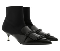 Neoprene Sock Booties Leather Black Pumps