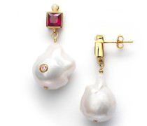 Ohrringe Baroque Pearl Bling Earrings Lipstick