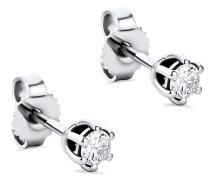 Ohrringe 0.25ct Diamond Stud Solitaire Earring 14KT White Gold