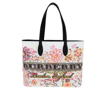Doodle Flowers Reversible Canvas Tote White weiß