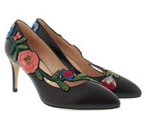 Pumps With Floral Embroidery Black