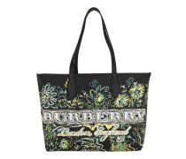 Doodle Flowers Reversible Canvas Tote Black Shopper schwarz