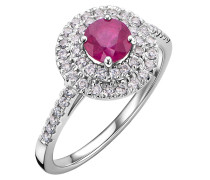 Ring 18KT Ruby And Diamond White Gold