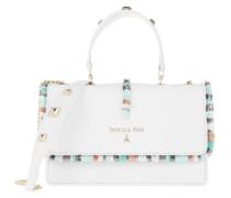 Umhängetasche Mini Shoulder Bag Piping Con Ricamo Bianco