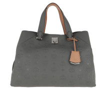 Tote Essential Monogrammed Leather Large Charcoal