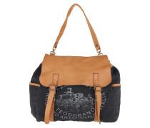 Shoulder Bag Textile Cow Blu+Naturale+St.Grigia Satchel