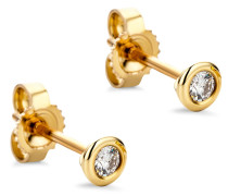 Ohrringe 0.1ct Diamond Stud Solitaire Earring 14KT Yellow Gold