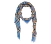 Vintage Check Square Scarf Cotton Azure Blue Accessoire