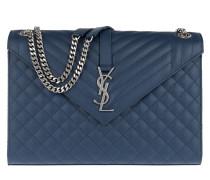 Envelop Shoulder Bag Quilted Leather Blue Satchel Bag