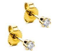Ohrringe 0.12ct Diamond Stud Solitaire Earring 14KT Yellow Gold