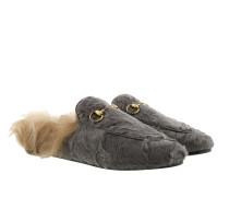 Princetown Slipper Lamb Fur Piombo Schuhe