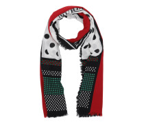 Dot & Stripe Scarf Cotton Black/Red Accessoire rot
