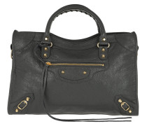 Buckle Detailed Leather Tote Gris Fossile Gold Tote