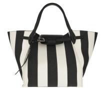Tote Medium Big Bag Large Striped Textile Black/White weiß
