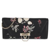 Demilune Floral Rivet Clutch Black